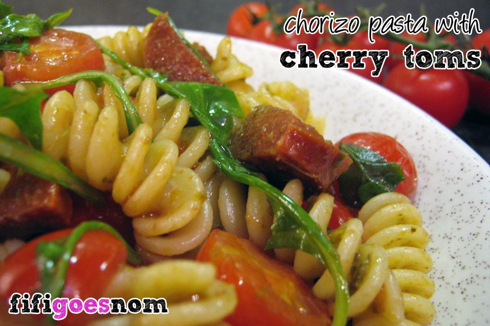 Chorizo pasta, with lashings of cherry tomatoes and rocket