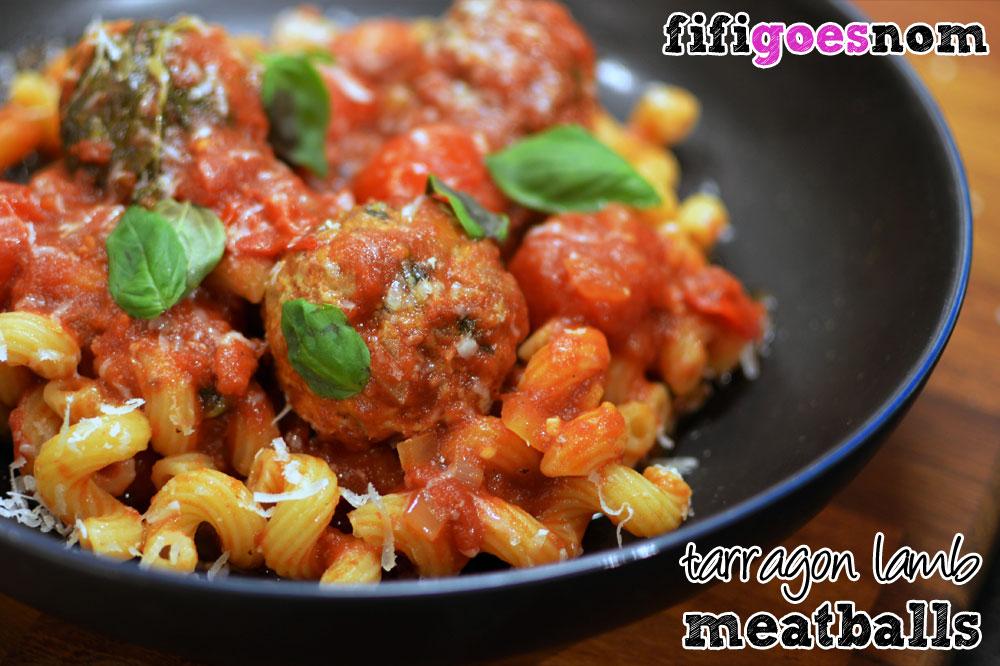 Tarragon Lamb Meatballs in a Tomato Basil Sauce