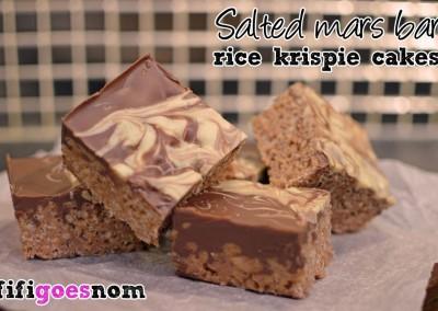 Salted Mars Bar Rice Krispie Cakes | fifigoesnom.com
